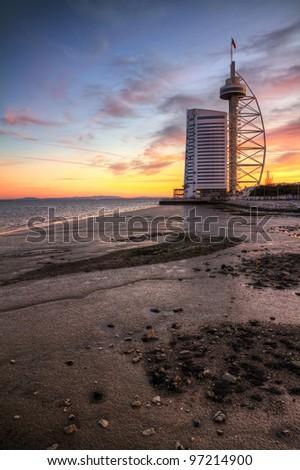 Vasco da Gama Tower in Lisbon at sunset - stock photo
