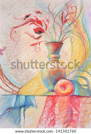vase and apple/ Pastel drawing. On the table is a vase and an apple. In a vase with a sprig of leaves. A table covered with a fabric.
