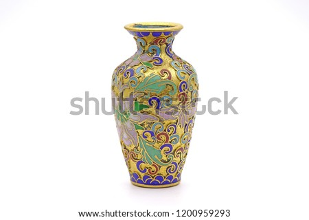 Vase : Antique Chinese Cloisonne enamel vase isolated on white background #1200959293