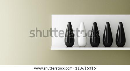 Vase ceramic on white shelf decorated, 3d rendering