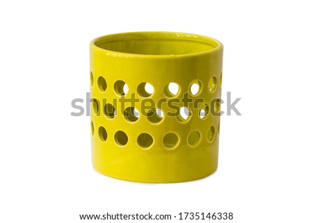 Vase isolated. Household Ceramic vase on white background. Decorate house with shiny vase. Best pottery for home.
