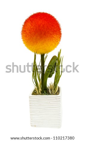 Vase Of Flower Isolated On White Background
