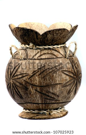vase of hand-worked from a coconut