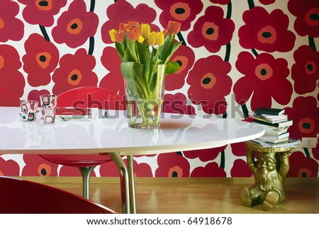 vase of tulips on the table
