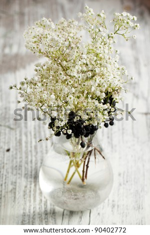 Vase with bunch of Gypsophila (Baby's-breath flowers) on white wooden table