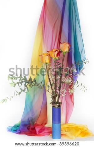 Vase with fresh roses