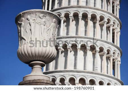 vase with the leaning tower of Pisa, Italy