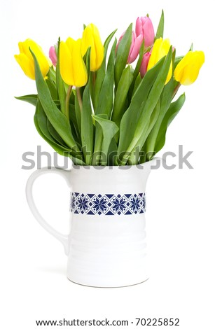 vase with tulips isolated
