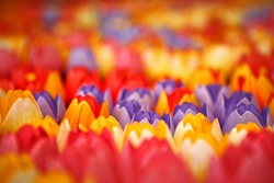 Vases full of bright colorful wooden tulips for sale at flower market in Amsterdam, The Netherlands
