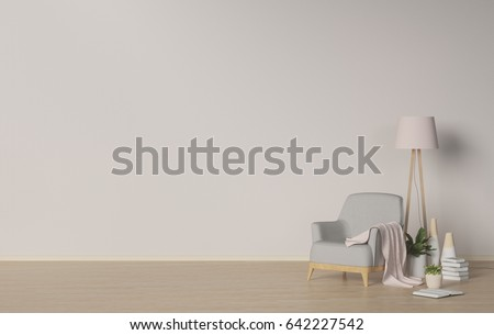 vases in the living room,armchair and lamp on empty room,lamp and plants,books,interior background,3D rendering