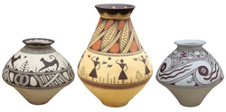 Vases with native american pattern vase isolated on white background .