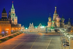 Vasilyevsky Descent near St Basil's Cathedral and Moscow Kremlin. View of the Red Square at night.