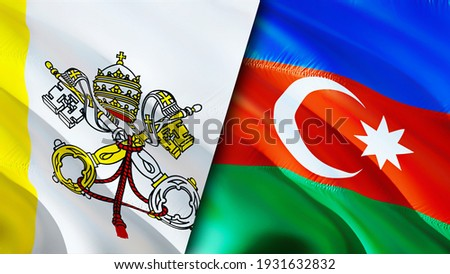 Vatican and Azerbaijan flags. 3D Waving flag design. Azerbaijan Vatican flag, picture, wallpaper. Vatican vs Azerbaijan image,3D rendering. Vatican Azerbaijan relations alliance and