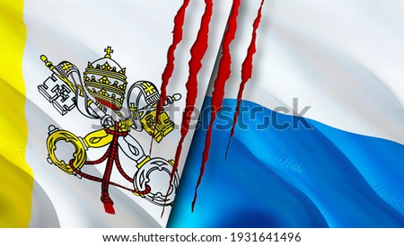 Vatican and San Marino flags with scar concept. Waving flag,3D rendering. San Marino and Vatican conflict concept. Vatican San Marino relations concept. flag of Vatican and San Marino crisis,war, Foto stock ©