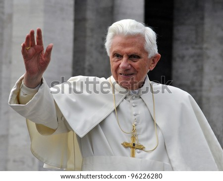 VATICAN - APRIL 6: Pope Benedict XVI blesses people at Saint Peter's square April 6, 2011 in Vatican. Pope Benedict XVI was elected on 19 April 2005 in a papal conclave.