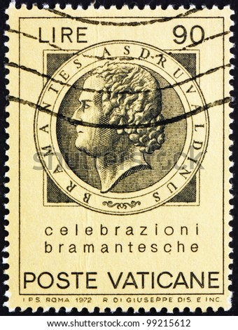 VATICAN - CIRCA 1972: A stamp printed in the Vatican shows Bramante, Donato d'Agnolo, Architect, circa 1972