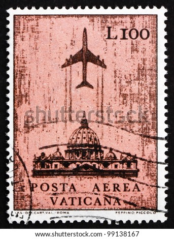 VATICAN - CIRCA 1967: A stamp printed in the Vatican shows Jet over St. Peter's Cathedral, circa 1967