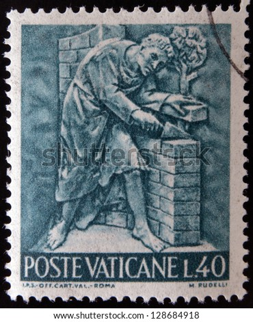 VATICAN - CIRCA 1966: A stamp printed in Vatican shows Bas reliefs of arts and crafts, bricklayer, circa 1966