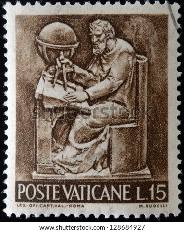 VATICAN - CIRCA 1966: A stamp printed in Vatican shows Bas reliefs of arts and crafts, geometry, circa 1966