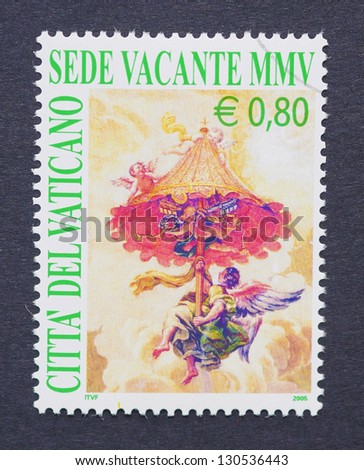 VATICAN CITY - CIRCA 2005: a postage stamp printed in Vatican City showing an allegoric image of the vacancy of the episcopal see of the Catholic Church after the death of John Paul II, circa 2005.