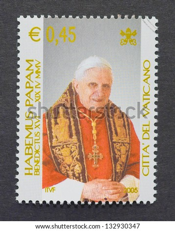 VATICAN CITY - CIRCA 2005: a postage stamp printed in Vatican City showing an image of pope Benedict XVI, circa 2005.