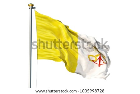Vatican city flag. Isolated 3d Vatican city flag