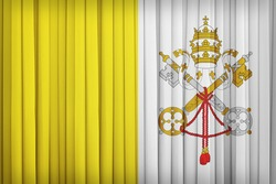 Vatican City flag pattern on the fabric curtain,vintage style