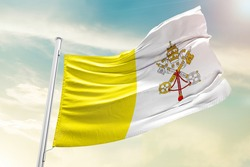 Vatican City national flag cloth fabric waving on the sky  - Image