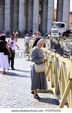 VATICAN CITY - SEPTEMBER 13: A nun in St. Peter Square on September 13, 2011 in Vatican City. Thousands of nuns and priests are visiting the Vatican every year as pilgrims.