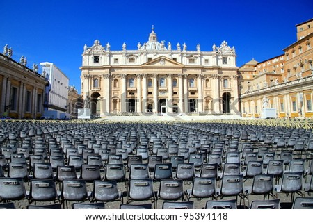 VATICAN CITY - SEPTEMBER 13: St. Peter Square on September 13, 2011 in Vatican City. Every year millions of visitors and pilgrims visit the Vatican and attend the Pope mass.