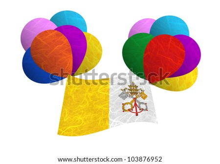 Vatican City State flag balloon on the wind. Mulberry paper on white background.