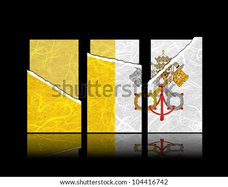 Vatican City State flag of tear paper with gift cards. Mulberry paper on black background.