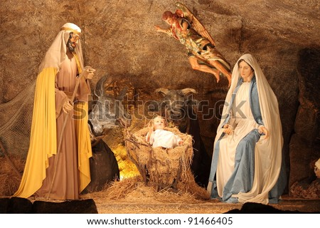 VATICAN - DECEMBER 25: The nativity scene of the christmas crib on December 25, 2011 in Vatican City