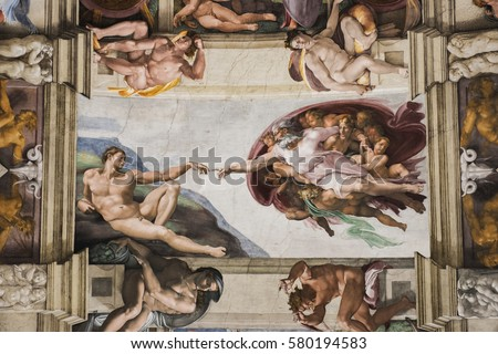 Vatican, Italy - October 6, 2016: Detail of the Universal Judgement inside the Sistine Chapel in Vatican City.