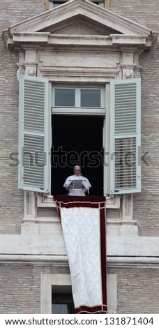 VATICAN - MARCH 17: Pope Francis I, born Jorge Mario Bergoglio, during the first angelus prayer at the Vatican, 17th March 2013