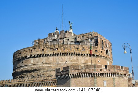 Vatican - Oct 14, 2018. View of Castle of San Angelo in sunny day. The building was later used by the Popes as a fortress and castle, and is now a museum. #1411075481