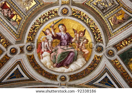 Vatican, Rome, Italy. Fresco of Raphael, stanza