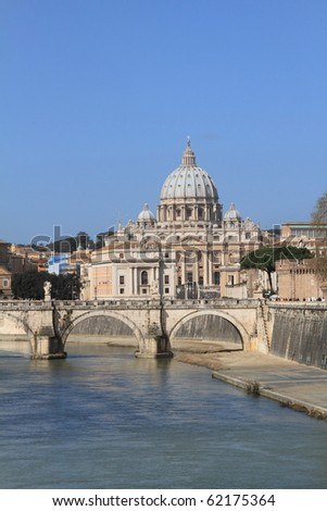 Vatican Saint Peter's Basilica viewed from Tiber river in Rome