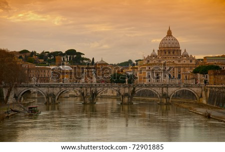 Vatican with Saint Peter's Basilica - stock photo