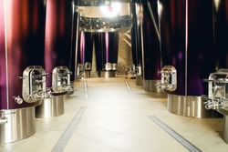 Vats for fermenting grapes and producing wine at the winery