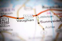 Vaughan. North Carolina. USA on a geography map