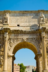 Vault of Arch of Constantine, triumphal arch in Rome, Italy