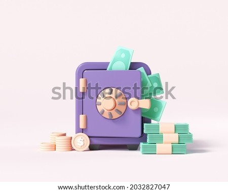 Vault or Safe box with coin stacks, bunch of money, money-saving, and stored money concept. 3d render illustration