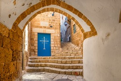 Vault passage, small church and stone stair in old city of Jaffa in Israel.