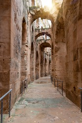 Vaulted arched passage or enfilade of the Amphitheatre of El Jem, Tunisia.