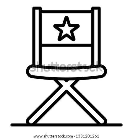 Vblog director chair icon. Outline vblog director chair icon for web design isolated on white background