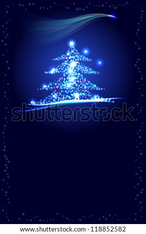 vector abstract christmas tree with copy space, vector version available
