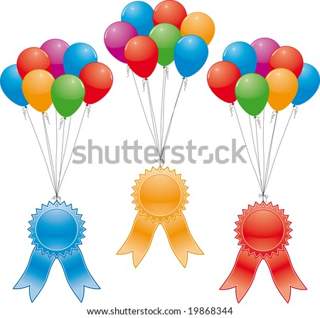 vector award ribbons and balloons (without gradient mesh)