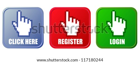 Vector buttons - click here, register and login