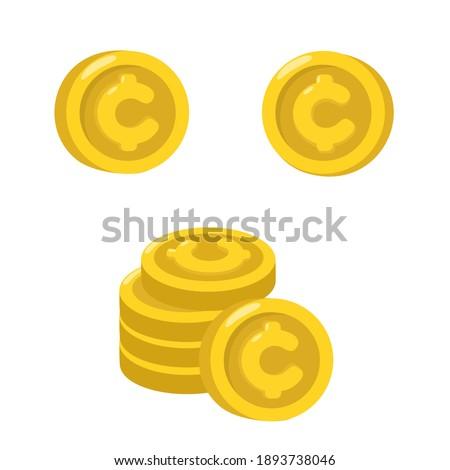 Vector cartoon coin cent icon. Stock Illustration  gold coin
